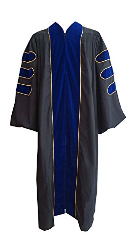 Grad Days Doctoral Graduation Gown Unisex Deluxe Royal Blue Velvet Gold Piping (RB57) by Grad Days