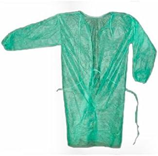 10 Batas desechables color verde con cierre trasero con puño ...