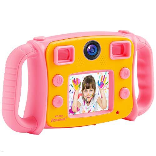 Prograce Kids Camera for Girls Gift 1080P Children Selfie Camera Kids Video Camera 2 Inch LCD Duo Camera 4X Digital Zoom Camcorder and Game (Pink Kids Camera Digital)
