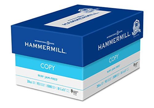 Hammermill Paper, Copy, 20lb, 8.5 x 11, 92 Bright, Letter, 1,500 Sheets / 3 Reams, (113620), Made In The USA (Sheet Size Paper Standard)