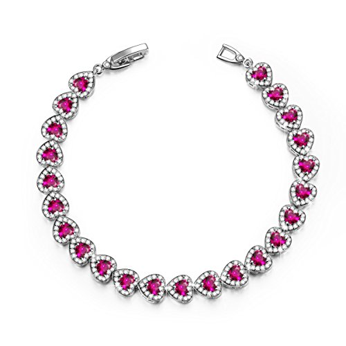 Pink Heart Corundum Tennis Bracelet White Gold Plated