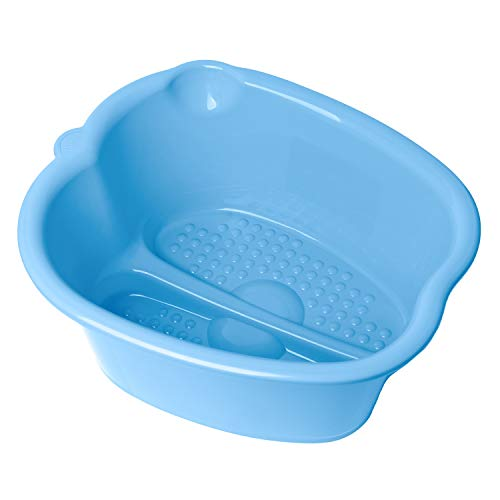 DRESHah XLarge Blue Foot Bath Tub - Thick Sturdy Plastic Pedicure Spa and Massage for Soaking Feet, Toenails, and Ankles with Epsom Salts or Essential Oils. Helps with Callus, Fungus and Dead Skin