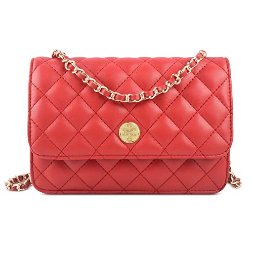 Wallet on Chain,i5 Women Chic Cross body Shoulder Bag Quilted Multi-Pocket Purse Gold Chain Hobo Bag for Girls (red)