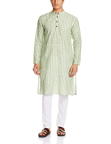 Svanik Men's Knee Long Cotton Kurta (SVLK1632S_Green and White)