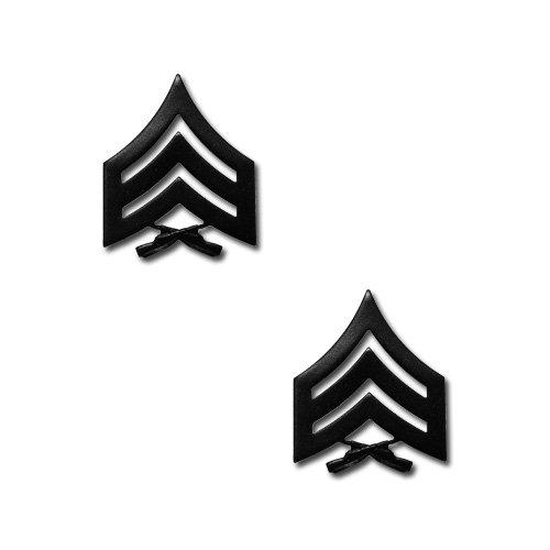 Make Your Uniform Look Smart! Marine Corps SGT Black Collar Pins Scratch Resistant