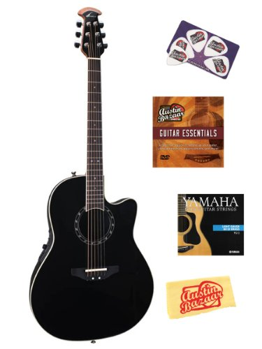 Ovation 2771AX-5 Pro Balladeer Standard Deep Contour Acoustic-Electric Guitar Bundle with Instructional DVD, Strings, Pick Card, and Polishing Cloth - Black