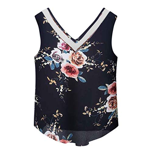 (Londony ◈ Women's Paisley Printed Pleated Sleeveless Blouse Shirt V Neck Sleeveless Sexy Blouse Tank Tops Casual Shirts Navy)