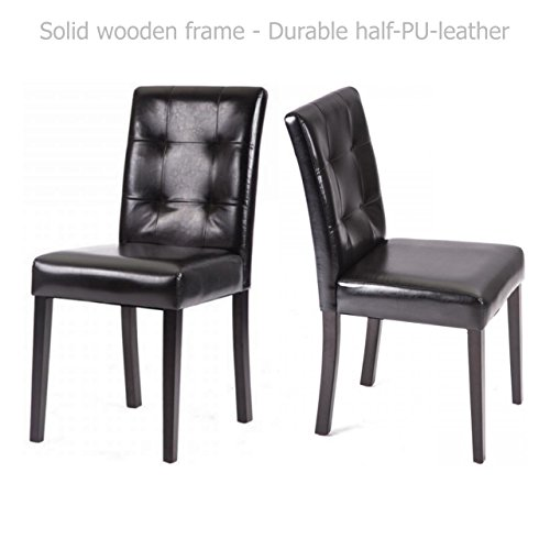 Modern Dining Chairs Sturdy Wooden Frame Tufted Backrest Design Half PU Leather Seats Home Office Furniture Decor - Set of 2 Black #1549 (Rattan Furniture Repair Miami)