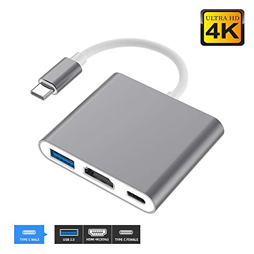 USB C to HDMI Adapter, USB 3.1 Type-C Hub to HDMI 4k+USB 3.0+USB-C Charging Port, Mac HDMI Adapter,USB-C Digital AV Multiport Adapter for MacBook Pro/ S8+/S9+/Projector/Monito(Gray) (Usb 3-0 Type C To Hdmi Adapter)