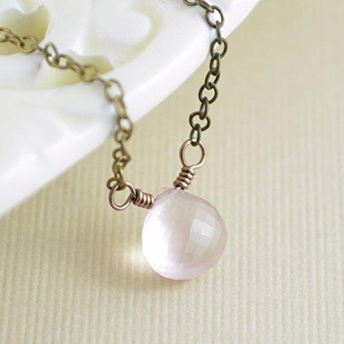 (Rose Quartz Necklace in Antiqued Bronze)