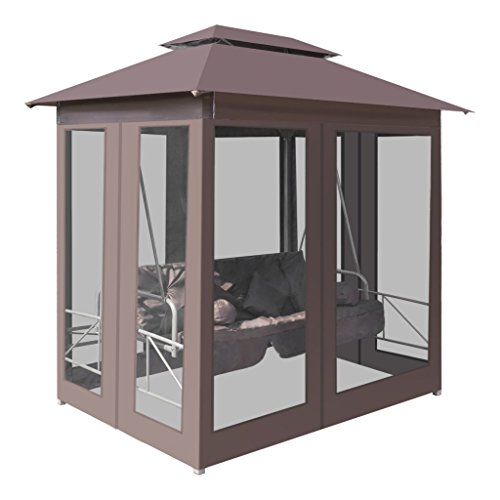 Festnight Luxury Outdoor Gazebo Swing Chair Sunbed Patio Daybed, with Mesh Walls and 4 pillows, Coffee by Festnight