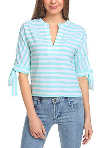 oodji Collection Mujer Blusa a Rayas de Estilo Marinero Turquesa (6512S)
