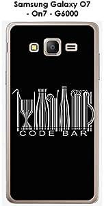 Carcasa para smartphone Samsung Galaxy-O7 On7-G6000 design mensaje código Bar texto, color blanco