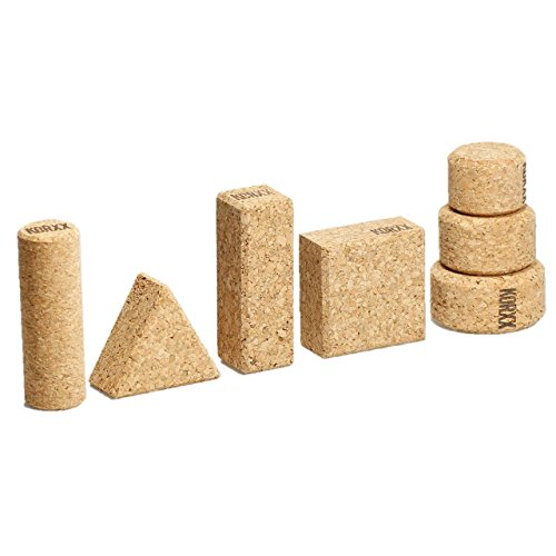 (ECR4Kids KORXX Eco-Shapes with Storage Container - Cork Building Block Set for Kids (60-Piece Kit))