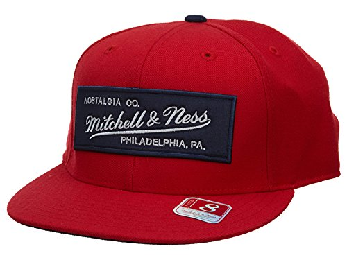 Mitchell & Ness New Era Fitted Hat Mens Style: HAT590-RED/NAVY Size: 7 7/8