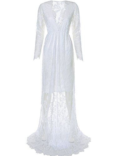 White Halloween Dresses (Saslax Maternity Sexy Deep V-Neck Long Sleeve Lace See-through Maxi Dress For Beach,With Linning White,Medium)