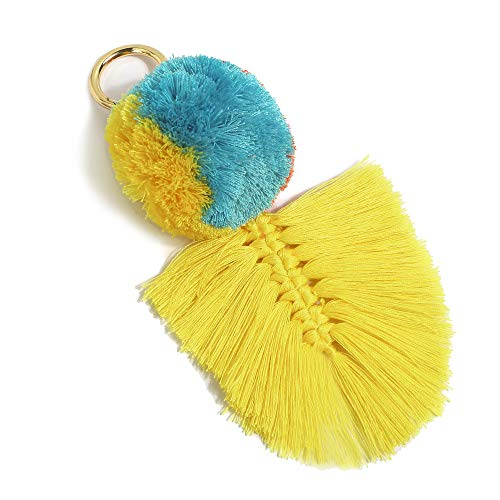 (Colorful Boho Pom Pom Tassel Bag Charm Key Chain (U03)