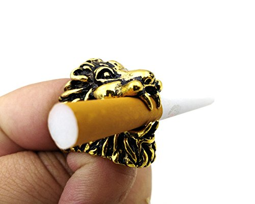 TuoLian Lion Head Cigarette Holder Smoking Ring Smoke Bracket Convenient for Man with Free Box (Gold, XL19mm)