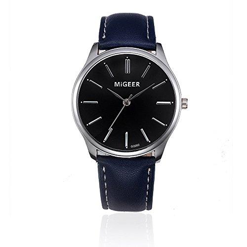Analog Floral Dial (Creazy Retro Design Leather Band Analog Alloy Quartz Wrist Watch (Blue))
