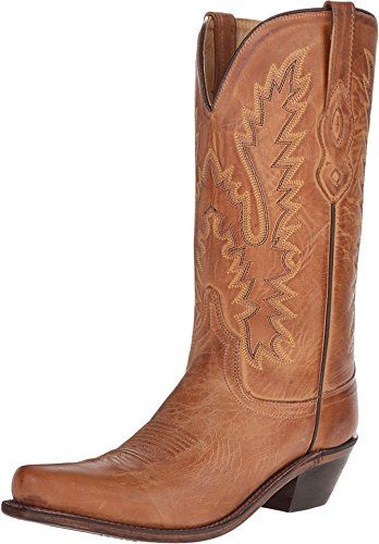 Old West Tan Canyon Womens All Leather 12in Snip Toe Cowboy Western Boots 8.5 B