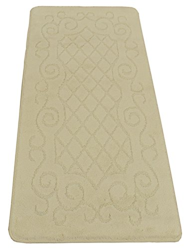 Minaan Collection Trellis Lace Scroll Design Area Rug Rugs Slip Resistant Backing Modern Contemporary Area Rug (Ivory Trellis Scroll, 2'2