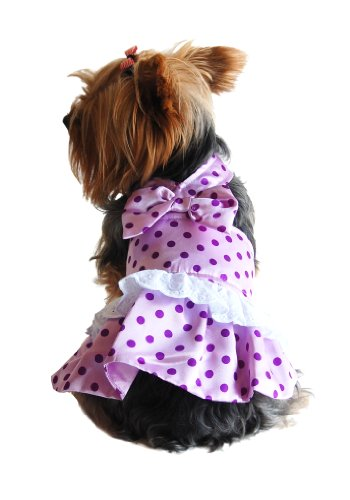 Anima Lavendar Satin Polka Dot Halter Dress, Large, My Pet Supplies