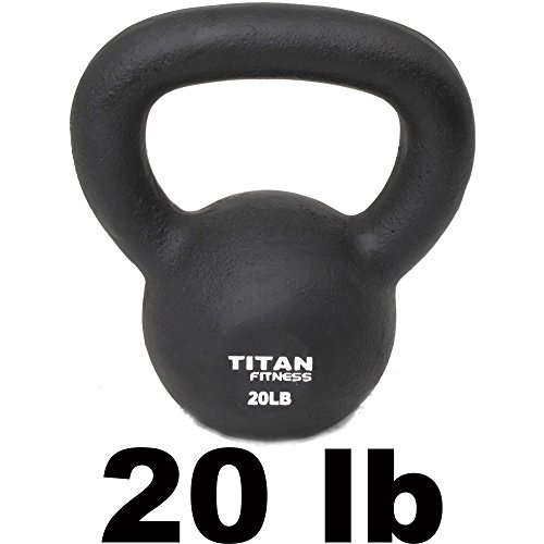 Cast Iron Kettlebell Weight 20 Lbs Natural Solid Titan Fitness Workout Swing