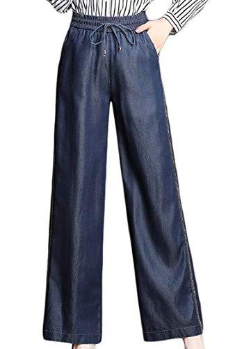 (Macondoo Women Jeans Denim Simple Wide-Leg Trousers Drawstring Pants Blue)