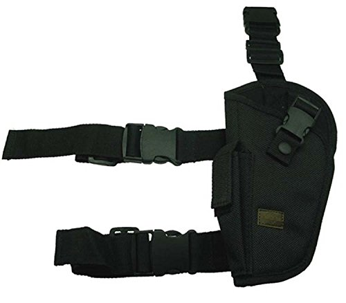 Left Handed Tactical Elite Style Black SWAT Thigh Leg Pistol Handgun Holster