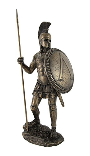 Veronese Design Bronzed Spartan Warrior with Spear and Hoplite Shield Statue ()