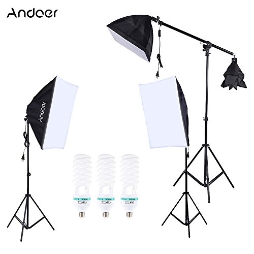 Andoer Photography Photo Studio Lighting Kit Set Softbox with 5500K 135W Daylight Studio Bulb Light Stand Square Cube Softbox Cantilever Bag (softbox) by Andoer
