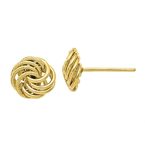 Leslie's 10k Yellow Gold Textured Love Knot Earrings (9mm x 9mm (about 3/8