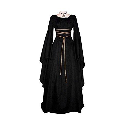 Brave669 Retro Women's Long Sleeve Round Neck Party Maxi Dress Halloween Cosplay Costume Black M ()