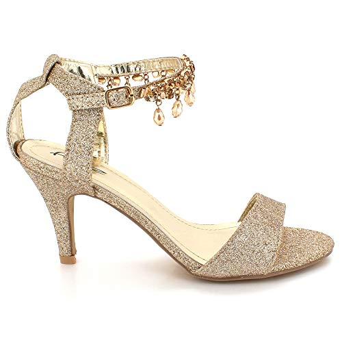 Bal Mariée Prom Talon Bracelet Des Dames Mariage Soir De Taille Éblouissant Haut Femmes Or Chaussures Cheville Fête Sandales zR8qHvw