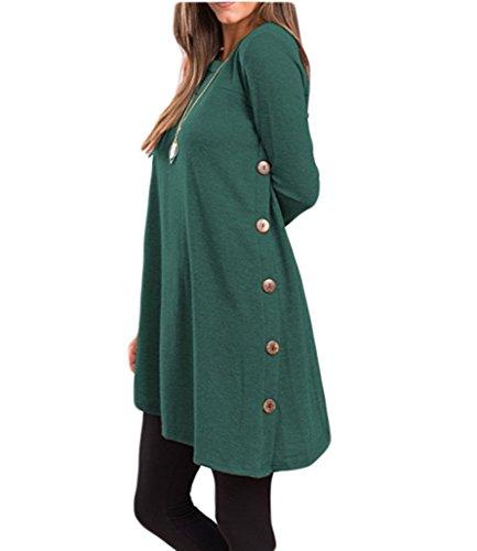 para vestido beginning túnica larga lateral Mujer Verde Auspicious con Dobladillo de de cuello botón redondo asimétrico la manga la FnnAfZP