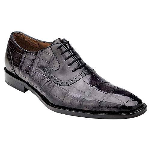 Belvedere Walter Charcoal Genuine Alligator and Italian Calf Men's Lace Up Shoes - 11