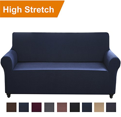 Chelzen Stretch Sofa Covers 1-Piece Polyester Spandex Fabric Living Room Couch Slipcovers (Sofa, Navy Blue)