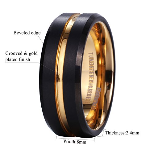 King Will Duo Mens 8mm Black Matte Finish Tungsten Carbide Ring 18K Gold Plated Beveled Edge Wedding Band