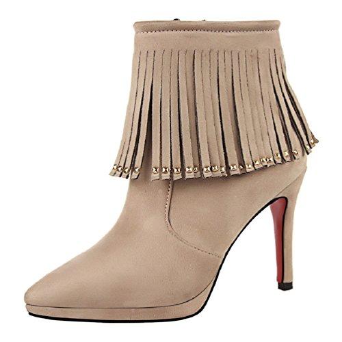 Beige Damen Stiefeletten Reißverschluss Nieten Winter HooH Quasten H6xqABwv