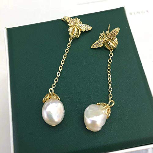 Original Design Natural Freshwater Baroque Pearl Handmade Bee Drop Earrings For Women Wedding Custom Fine Jewelry