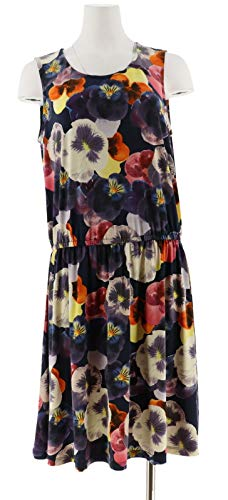 Clinton Kelly Kelly Floral Printed Slvless Knit Dress Navy Pansy 1X New A304708 from Clinton Kelly