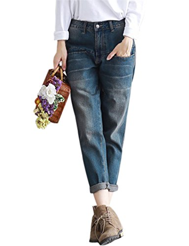 Yeokou Women's Casual Loose Distressed Baggy Harem Denim Jeans Cropped Pants (Medium (Baggy Boyfriend Jeans)