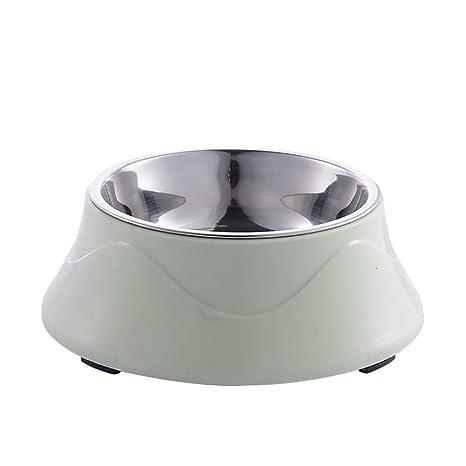 Scrox 1x Cuenco de Perro Gato Alimentos Bowl Acero Inoxidable Doble Capa Comedero para Mascotas Hervidor para Mascotas (Verde)