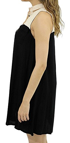 - Beautifullight Fashion Two Tone Shirt Dresses Black / KhakiSmall