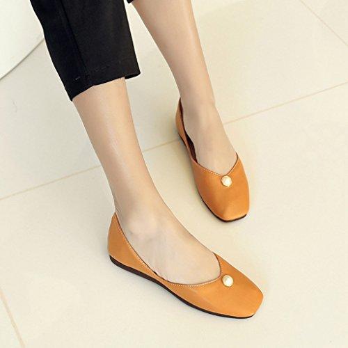 HWF Color Color Zapatos Zapatos Apricot Plano para Trabajo Ms de 34 Verano Chica Suave Zapatos Informal Tamaño mujer Fondo Estudiante Amarillo Individuales Mujer STETAq