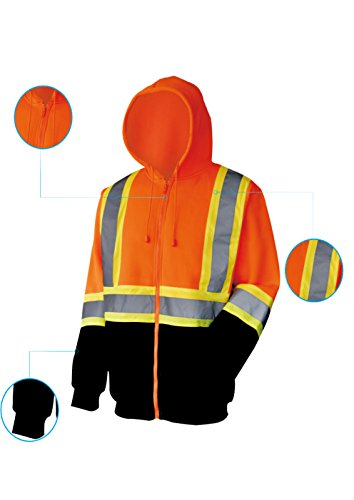 L&M High Visibility ANSI Class 3 Reflective Hooded Sweatshirt Safety Work Jacket (L, Orange Zip) by L&M