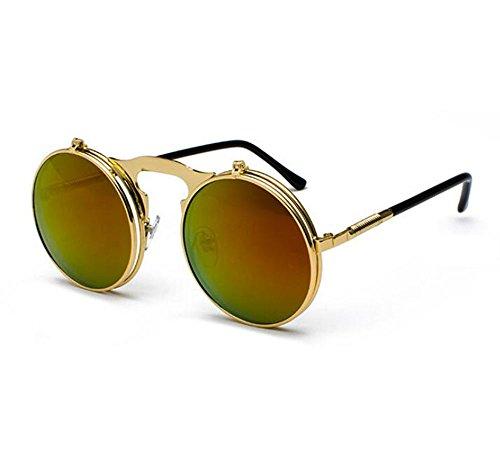 Metal de de lente marco Película Retro sol Steampunk Flip Roja UV400 Classic Oro Frame redondo protección gafas de OqzqUwgxpt