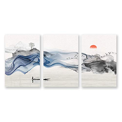 Wall26-3 Panel Canvas Wall Art- Chinese Landscape Painting-Wall Bedroom Living Room Home Decoration - 24