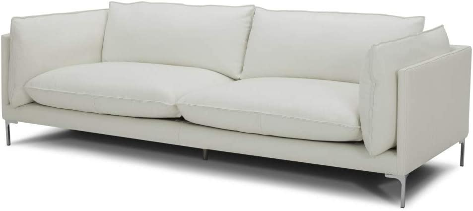 Limari Home Rudolf Collection Modern Full Leather Upholstered Sofa with Chrome Bracket Style Legs, White