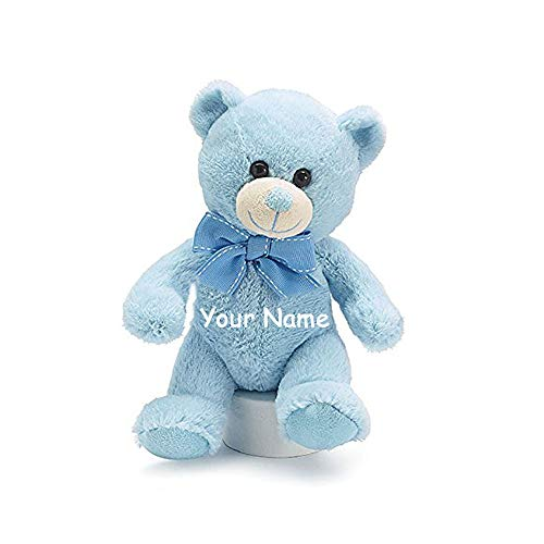 Personalized Baby Blue Teddy Bear Plush Stuffed Animal Toy for Baby Boy with Custom Name - 7 Inches
